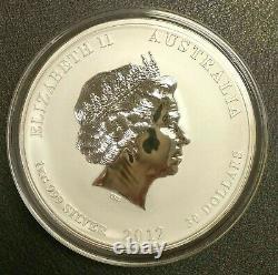 2012 Australie Lunar Dragon 1 Kilo Colorized Silver Bullion Coin