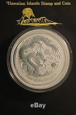 2012 Lunaire Australien Du Zodiaque Chinois. 999 Silver Coin Année Du Dragon 1 Kilo