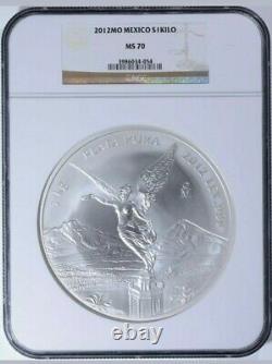 2012 Mexico Silver Kilo Coin Ms70 Libertad 32,15 Oz Rare En Ms70-seulement 181/world