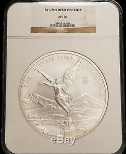 2012 Mexique 1 Kilo Kilogramme Libertad Silver Coin Ngc Ms70