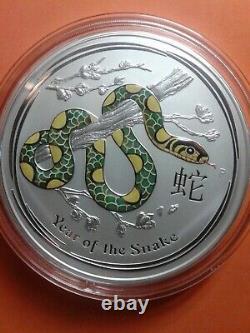 2013 Australie Année Lunaire Du Serpent 1 Kilo Argent Colorisation Coin