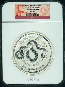 2013 P Australie Lunar An Snake 1 Kilo (32,15 Oz) Pur Silver Coin Ngc Ms70