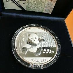 2014 Chinois 1kg 300 Yuan Kilo Panda Argent Pièce. 999