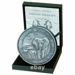 2015 1 Kilo Somalia Silver Elephant Coin (bu, Finition Antique, 200 Mintage)