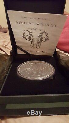 2015 1 Kilo Somalie Argent Éléphant Coin (bu, Finition Antique 200 Tirage)
