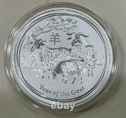 2015 Perth Monnaie Lunaire Année De La Chèvre Argent Coin 1kg Kilo Bu Encapsulé