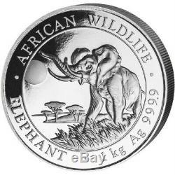 2016 1 Kilo Somalie. 999 Argent Elephant Coin (bu)