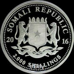 2016 Argent Somalie Kilo 32,15 KG 2000 Shillings Elephant Coin Capsule