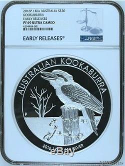 2016 Kookaburra Preuve 1 Kilo $ 30 Coin Argent Pur Kilogramme Ngc 500 Pf69 Mintage