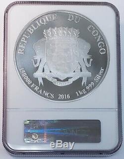 2016 Lion Africain Du Congo 1 Kilo. 999 Francs Argent Fin 150.000 Monnaie Ngc Ms69