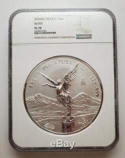2016 Mexique Kilo 999 1 KG Libertad Argent Épreuve Numismatique Monnaie Ngc Pl70 Seulement 6 Graded 70