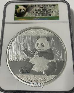 2017 1 Kilo China 999 Argent Panda 300 Yuan Coin Ngc Pf 70 Uc Nouveautés Anticipées