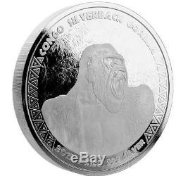 2017 1 Kilo Congo Silverback Gorilla. 999 Silver Coin Bu # A432