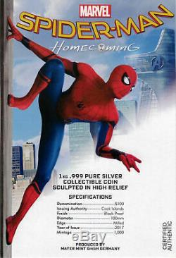2017 $ 100 Spider-man Retrouvailles 1 Kilo. 999 Proof Silver Coin Pcgs Pr69dcam Fd