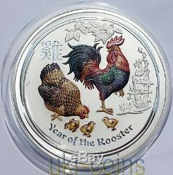 2017 Australie 1 Kilo $ 30 Ans Du Coq Lunaire Argent Monnaie / Pierres Précieuses Yeux