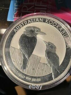 2017 Australie 1 Kilo Argent Kookaburra Pièce Excellenteconditions Dans La Boîte
