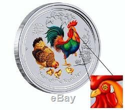 2017 Australie Année Lunaire Coq 1 Kilo Gemstone Argent $ 30 Monnaie Ngc Sp 69