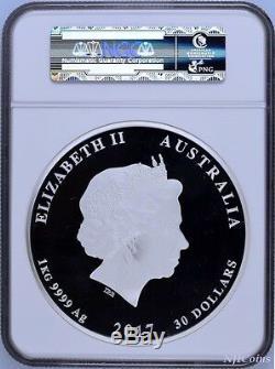 2017 Australie Année Lunaire Du Coq 1 Kilo 30 $ En Argent Épreuve Numismatique Monnaie Ngc Pf 70