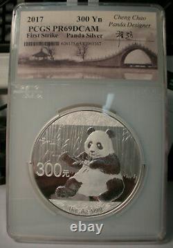 2017 Chine 300 Yuan Silver Panda Coin Pcgs Pr69 Dcam 1 Kilo. 999 Signature Fine
