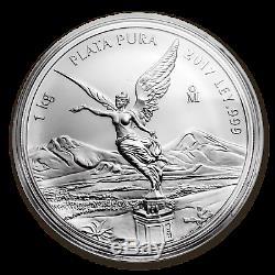 2017 Mexique 1 Kilo D'argent Libertad Bu (capsule) Sku # 103078