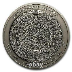 2017 Monnaie Mexicaine 1 Kilo Argent Calendrier Aztèque Coin Boîte De Finition Antique Et Coa