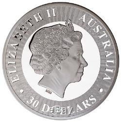 2017-p Australie 1 Kilo Argent Kangourou Proof $ 30 Coin En Ogp Sku48294