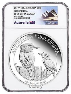 2017-p Australie 1 Kilo Argent Kookaburra Proof $ 30 Pièce Ngc Pf69 Uc Sku48582
