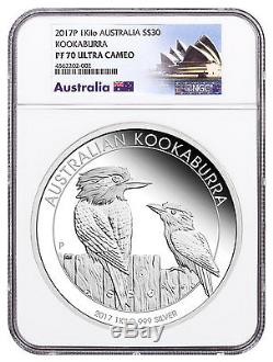 2017-p Australie 1 Kilo Argent Kookaburra Proof $ 30 Pièce Ngc Pf70 Uc Sku48580
