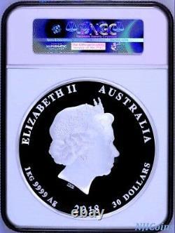 2018 Australie Année Lunaire Du Dog 1 Kilo Proof Argent $30 Coin Ngc Pf 69