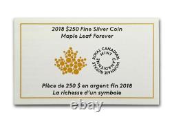 2018 Canada 250 $ Feuille D'érable Pour Toujours 9999 Argent 1 Kilo Pièce Courbée Avec Ogp Et Coa