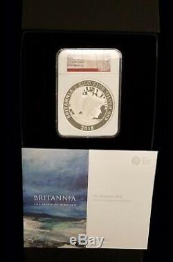 2018 Grande-bretagne 1 Kilo Argent Britannia £ 500 Monnaie Ngc Pf70 Uc 1 De Première 100