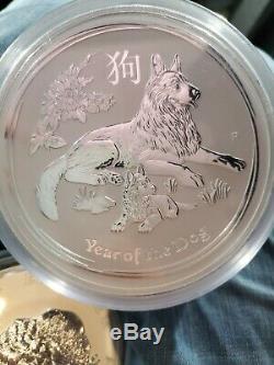 2018 Lunar Australie Année Du Chien 1 Kilo Argent $ 30 Coin Avec La Boîte