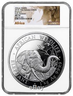 2018 Somalie 1 Kilo Argent Elephant Sh2,000 Monnaie Ngc Ms70 Er Sku51589