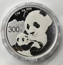 2019 China Panda 1 Kilo Silver Coin Box Et Coa