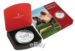 2019-p Australie Année Du Cochon 1 Kilo Argent Lunaire S2 $ 30 Gem Preuve Sku55143