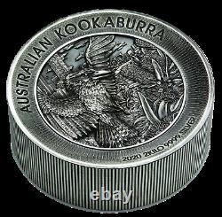 2020 Australie Kookaburra 60 $ Dollar 1 X 2 Bar Kilo Ronde 2000 Grams Silver Coin