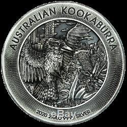 2020 Australie Kookaburra 60 Dollars 1 X 2 Bar Kilo Ronde 2000 Grams Silver Coin