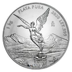 2020 Mexique Libertad 1 Kilo (32.15 Oz) Silver Limited Pre-sale Bu Capsuled Coin