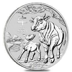 2021 1 Kilo Argent Année Lunaire Du Boeuf Bu Australie Perth Mint En Cap