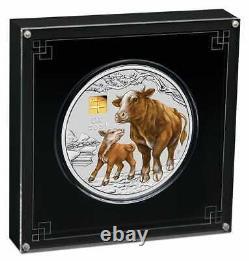 2021 Année Du Ox 1kg Kilo. 9999 Pièce En Argent Avec Marque Privée Or Série III