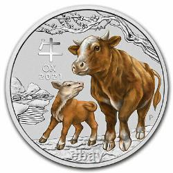 2021 Australie 1 Kilo Silver Lunar Ox Bu (siii, Colorisé) Sku#227654