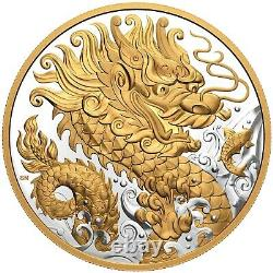 2021 Canada 125 $ Triumphant Dragon 500g (1/2 Kilo). 9999 Pièce D'argent 888 Made