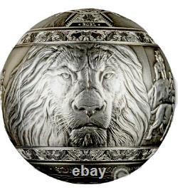 2021 Djibouti 1 Kilo Lion Sphérique Des Cinq Grands. 9999 Pièce D'argent Antique