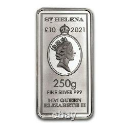 2021 Sainte-hélène £10 Elizabeth II East India Company 250g 1/4 Kilo Silver Bar