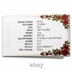 2021 Samoa 1 Kilo Silver Golden Flower Collection Rose Sku#238268