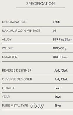 2021 The Queen's Beasts Completer Uk 1kg Silver Proof Coin. Un Kilogramme 1 Kilogramme