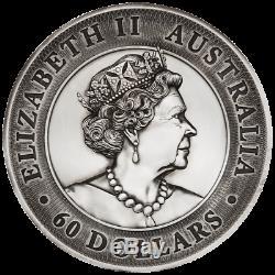 60 2020 Dollar Australien Kookaburra High Relief 2 Kilo Silber Af