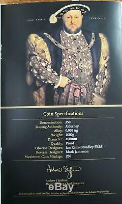 Alderney 2009 Roi Henri VIII 500e Ann. Adhésion 1 Kilo Proof Silbermünze