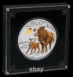Année 2021 De L'ox 1 Kilo. 9999 Silver Coin Australie Avec 1g Gold Privy Mark