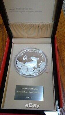 Année Lunaire Du Rat 2020 U. K. Kilo Silver Proof Coin Edition Limitée 28